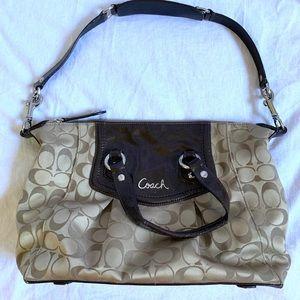 Authentic Coach Ashley signature tan purse